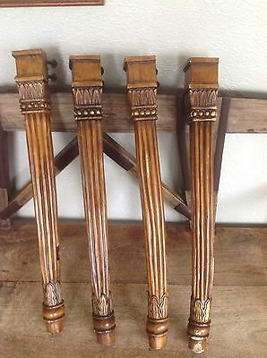 "A25 VTG Large Carved Wooden Legs With Beautiful Details Set Of 4. 27"" Long"