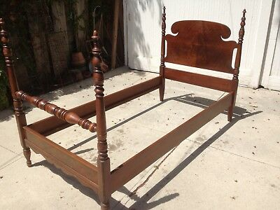 Walnut Twin Antique Beds 1920s-1930s Vintage