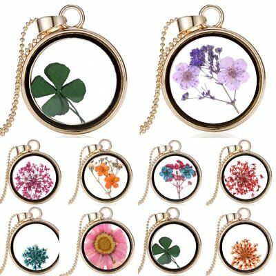 Lucky Natural Real Four Leaf Clover Dried Flower Round Glass Pendant Necklace
