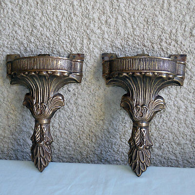 Antique Vintage 2 Heavy Solid Brass Ornate Shelf Brackets