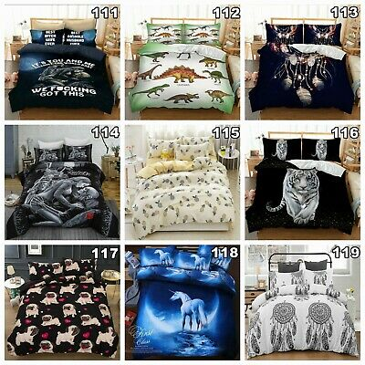Shark Quilt Doona Duvet Cover Set Single/Queen/King Size Animail Wolf Pillowcase