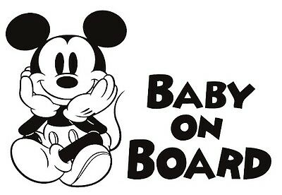 Baby on Board Mickey Mouse sitting Vinyl Decal custom sticker car window tumbler
