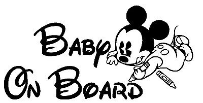 Mickey Mouse Coloring Baby on Board Vinyl Decal custom Sticker car window