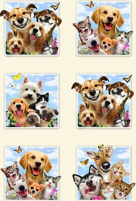 Pet Selfies Quilt Panel * Noses Smiles & Love * Free Post * So Cute *