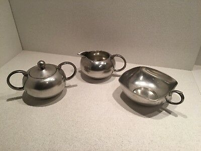Vintage Royal Holland Daalderop KMD Tiel Pewter Cream and Sugar Set