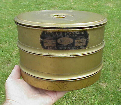 Vintage Brass FISHER SCIENTIFIC US STANDARD SIEVE SERIES No 200 Sieves, Lid, Pan