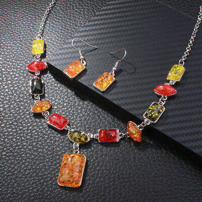 Imitation Amber Explosion Two-piece Suit Jewelry Set Earrings Necklace