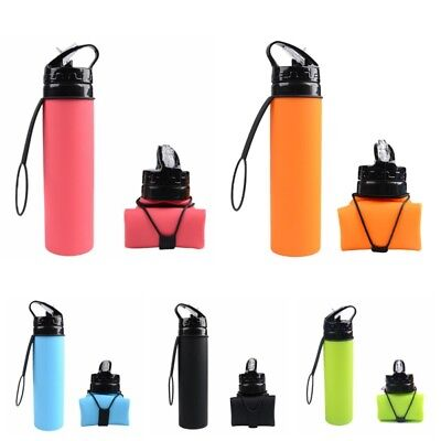AU Collapsible Foldable Water Bottle Silicone Outdoor Travel Hiking Supplies MTB
