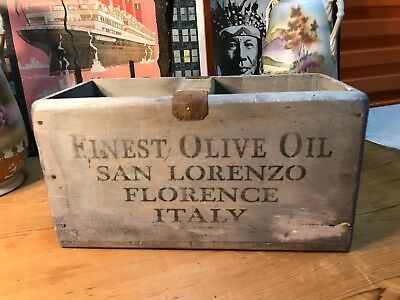Vintage Style Olive Oil Handy Carry Storage Box Home Shop Display