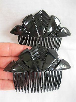Vtg New NOS Black Pair Of Side Hair Combs Deco Retro Modern 70's-80's Lucite