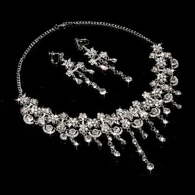 Wedding Bridal Crystal Rhinestone Earrings&Necklace Jewelry Set Two Pieces Set
