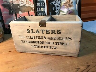 Vintage Style Slaters Natural Oysters Handy Carry Storage Box Home Shop Display