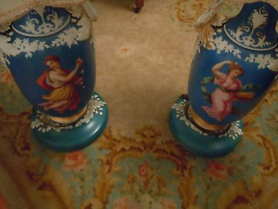 RARE~Antique SEVRES Style Porcelain Hand Painted French Scenes Banquet Lamps