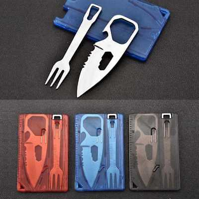 2pcs/set Multifunctional Travel Survival Camping Tool Card Knife Fork Outdoor ~
