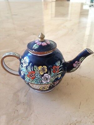 Miniature teapot - black background with floral pattern
