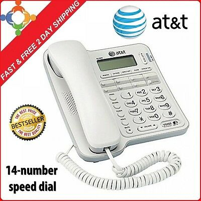 At T Corded Phone With Speakerphone And Caller Id Large Display Home Office