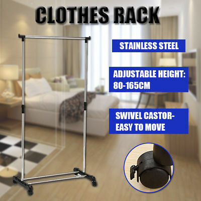 Stainless Steel Single Portable Clothes Organizer Hanger Rack Rail Garment Coat