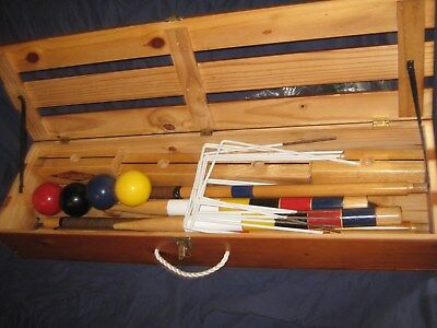 L At At K Vintage Old School Sports Croquet Set In Wood Carrying Case