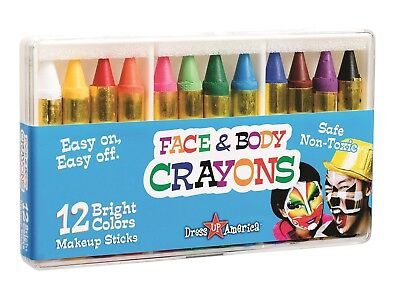 Dress Up America 12 Color Face Paint Safe Non-Toxic Face and Body Crayons