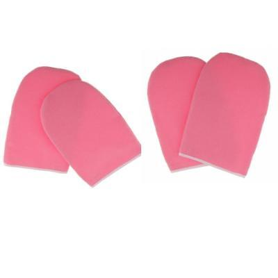 2 Pair Soft Paraffin Wax Hand Mask Moisturizing Gloves SPA Cloth Mitts Pink