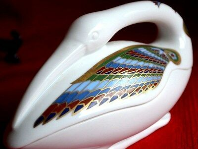 """ Ibis""  Multicolor Pottery Handcraft Jewelry Large  Bird- Box +  Lid"