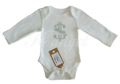new born baby boy vest bodysuit money atract. outfit size 0-1m hand made UNISEX