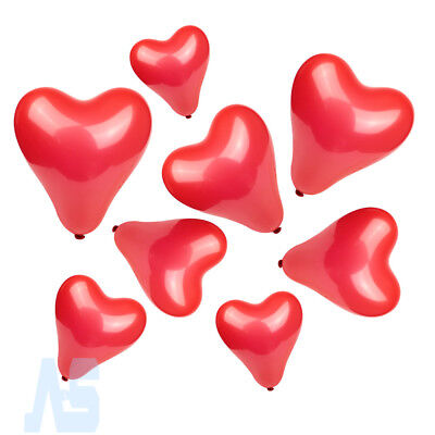 100Pcs Small & Large Red Heart Shaped Latex Balloons Valentine Wedding Decor