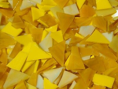 """""""100g - Mixed Yellows O"""" Handcut Stained Glass for MOSAIC & Glass Crafts"""