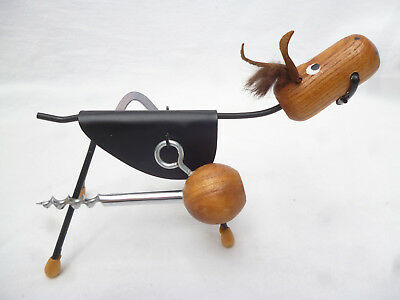VINTAGE WOOD & METAL BAR SET - Horse shaped stand with Corkscrew & Bottle Opener