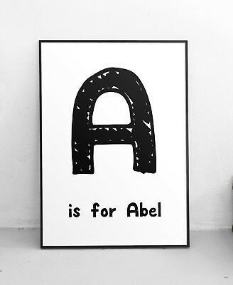 Personalised Name & Letter Alphabet Quote Print Custom Text Design Black Poster