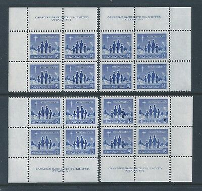 Canada #435 PL BL #1 Christmas Matched Set Plate Block MNH