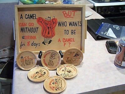 Vintage RELCO WOODEN TRAY 12x8 WHO WANTS TO BE A CAMEL? With 6 coasters