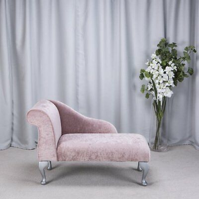 "41"" Small Chaise Longue Lounge Sofa Bench Seat Chair Blush Fabric Queen Anne UK"