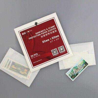 20pcs 95mm 60mm Pro Briefmarke Pergamin-hülse Banknote Protection Beutel