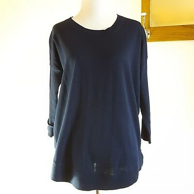 J.Crew Small Solid Dark Navy Blue Drapey Cotton Sweater A5048 NWT $64.50