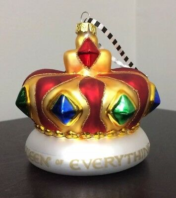 Mary Engelbreit Queen of Everything Jeweled Crown Christmas Ornament Red Gold ME