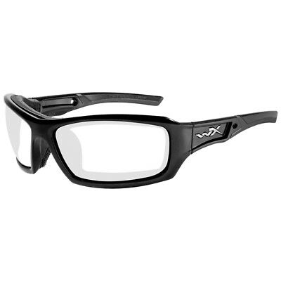 Wiley X WX Echo Glasses Coating RX Ready ANSI HVP Clear Lens Gloss Black Frame