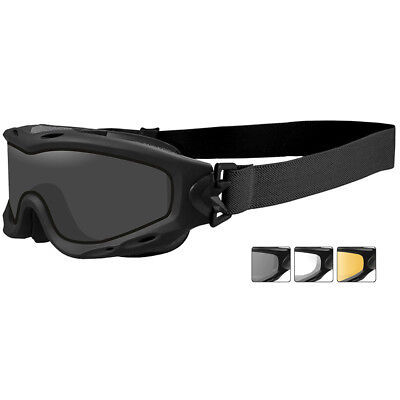 Wiley X Spear Goggles Dual Smoke Grey Clear Light Rust Lenses Sleek Matte Black