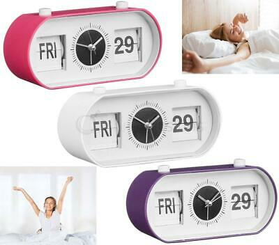 Flip Alarm Clock Oblong Manual Analogue Day Date Time Display Pink Purple White