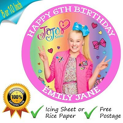 Jojo Siwa Cake Topper Personalised Edible Birthday Party Cake Printed Topper