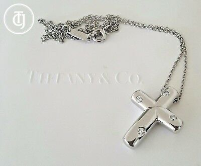 Tiffany & Co. Solid Platinum and Diamond Etoile Cross Necklace/Pendant