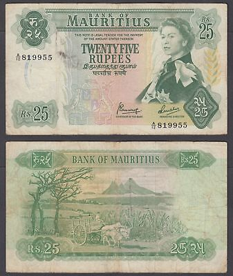Mauritius 25 Rupees 1967 (F-VF) Condition Banknote KM #32 QEII