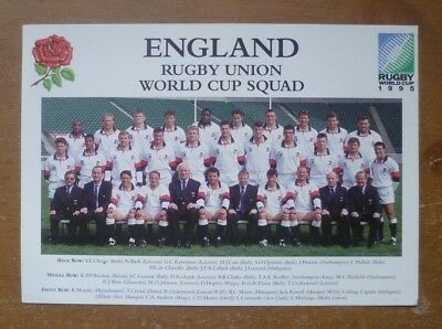 Rugby World Cup 1995 - England Promotional Card (Team Picture / Itinerary).