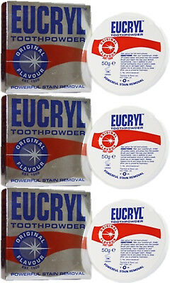 Eucryl Original Stain Removing Toothpowder 50g x3 TRIP PACK