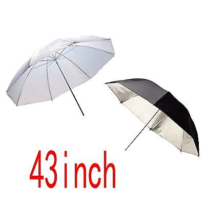 "2Pc 43"" 109Cm Photo Studio Black Silver Reflective Umbrella + White Soft Umbrell"