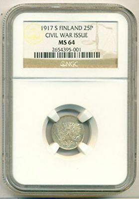 Finland Silver 1917 S 25 Pennia Civil War Issue MS64 NGC
