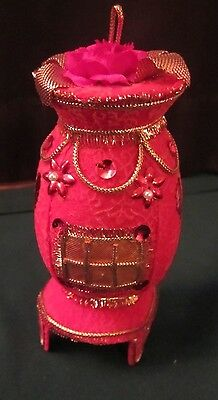 Vintage Pot Belly Stove Red Flocked Ornament W/sequins, Vgc, Made In Japan