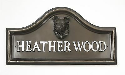 Bronze Finish Border Collie Dog Arched House Name Plaque