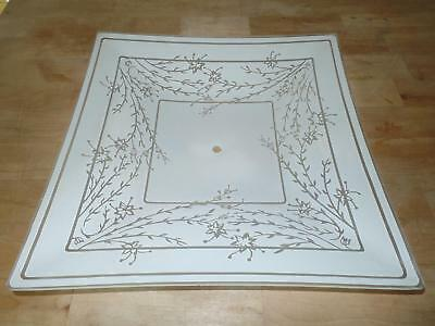 Ceiling Mount Light Fixture Shade Cover Glass Frosted Cherry Blossom Flowers Vtg