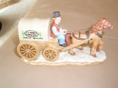 Lefton Colonial Village #10838 c1996 Horse Drawn Clarks Charcoal Wagon